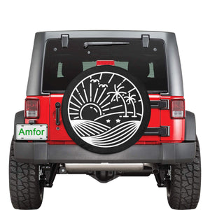 Jeep Tire Cover, Spare Wheel Cover, Rising Sun Palm Trees Mountains, Custom Unique Design, Back Tire Adventurous Jeep Lover Gift - Starcove Design