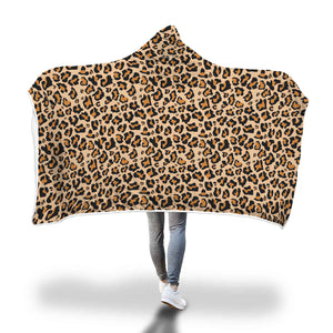 Leopard Hooded Blanket, Animal Print Cheetah Fleece Blanket Soft Cozy Fluffy Sherpa, Adult Kids Wearable Cloak Wrap Winter Gift - Starcove Design