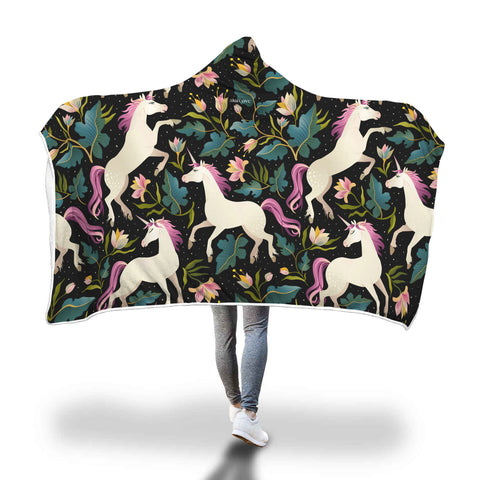 Unicorn Hooded Fleece Blanket with Soft Cozy Fluffy Sherpa Interior, Black Floral Adult Kids Wearable Cloak Wrap Winter Throw Gift - Starcove Design