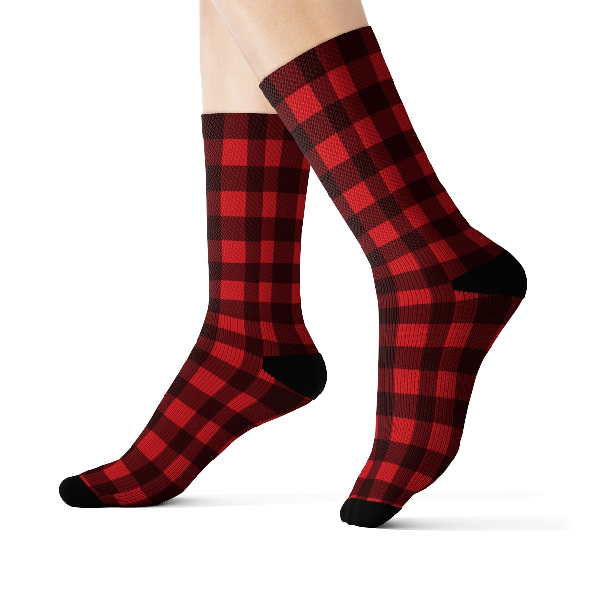 Buffalo Plaid Socks, 3D Printed Sublimation Red black Check Lumberjack Women Men Fun Cool Funky Casual Cute Unique Socks - Starcove Design