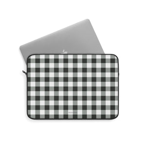 Buffalo Plaid Laptop Sleeve Case, Black and White Checkered Check Square MacBook Pro 13 Air 15 inch Bag