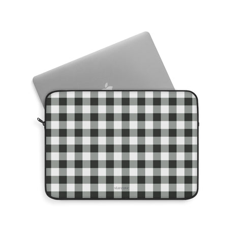Buffalo Plaid Laptop Sleeve Case, Black and White Checkered Check Square MacBook Pro 13 Air 15 inch Bag - Starcove Design