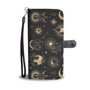 Moon Stars iPhone 11 Wallet, RFID Protection Vegan Leather Wristlet, Celestial Sun 11 Pro Max X 8 7 XS, Google Pixel 3 2 1 Samsung Galaxy Cell Phone - Starcove Design