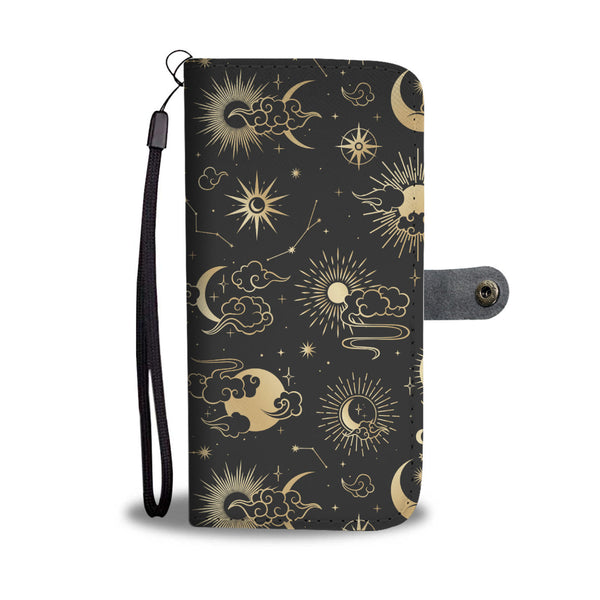 Moon Stars iPhone 11 Wallet, RFID Protection Vegan Leather Wristlet, Celestial Sun 11 Pro Max X 8 7 XS, Google Pixel 3 2 1 Samsung Galaxy Cell Phone