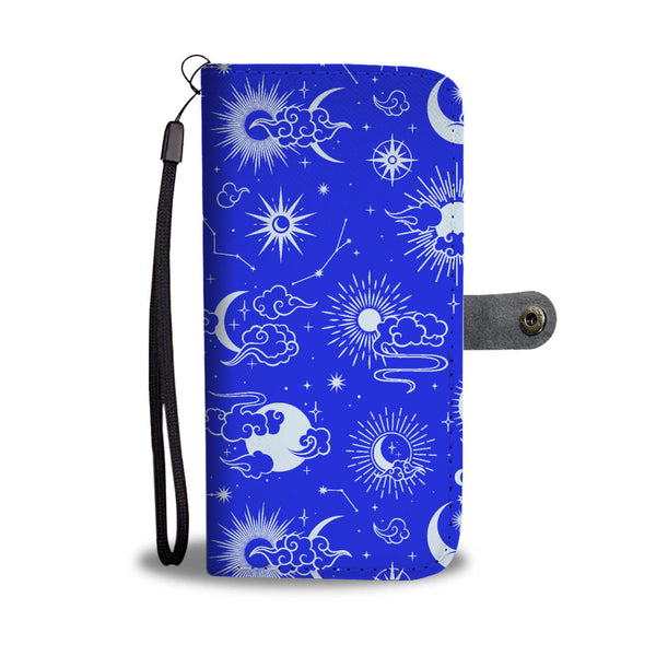 Moon Stars iPhone 11 Wallet, Blue RFID Protection Vegan Leather Wristlet Celestial Sun 11 Pro Max X 8 7 XS Google Pixel 3 2 1 Samsung Galaxy Phone
