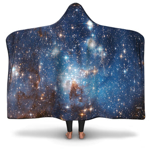 Galaxy Sherpa Hooded Blanket, Stars Outer Space Constellation Fleece Microfleece Adult Youth Men Woman Wearable Cloak Winter Gift - Starcove Design