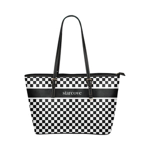 Black and White Tote Bag, Checkered Racing Print Handbag, Checkerboard Bag, High Grade Leather Designer Tote Bag, Starcove