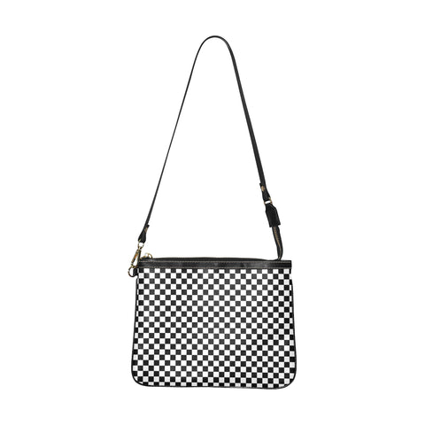 Check Print Small Shoulder Bag, Black White Checkered Women Leather Unique Cross Evening Travel Handmade Messenger Crossbody Zipper Purse