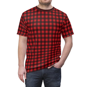 Red Black Buffalo Plaid Men's Tshirt, Holiday Party Lumberjack Check Checkered Shirt - Starcove Design