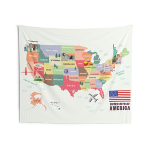 America USA Map with Landmarks Tapestry, Landscape Indoor Wall Art Hanging Tapestries Decor Home Dorm Room Gift - Starcove Design