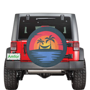 "Beach sunset sunburst palm trees color Spare Tire Cover(Large)(17"") - Starcove Design"
