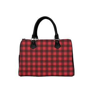 Buffalo Plaid Handbag, Black and Red Checkered Check Print, Canvas and Leather Barrel Type Designer Purse