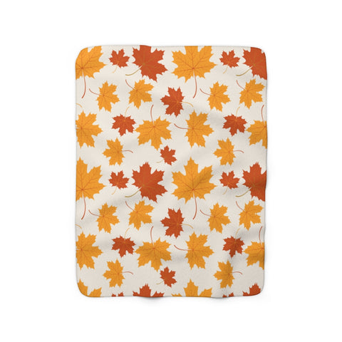 Autumn Fall Sherpa Fleece Blanket, Thanksgiving Leaves Harvest Orange Throw Soft Fluffy Adult Kids Adult Large Decor Gift