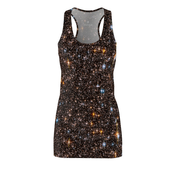 Galaxy Stars Dress, Black Galaxy Print, Outer Space Dress, Constellation Star Celestial Party Celebration Festival Universe Racerback Dress - Starcove Design