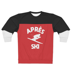 Apres Ski Sweatshirt, Black Red White Sweater, Alpine Skier Skiing Downhill Winter Sports Vintage 80s 90s Men Women Color Block - Starcove Design