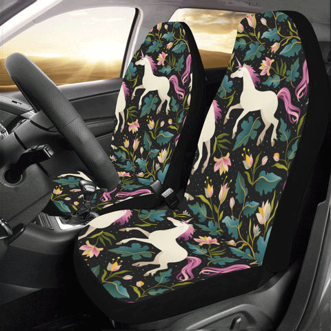 Car Seat covers for Women, Unicorn Purple Seat Cover 2 pc, Cute Horse Flowers Front Seat Covers, Car SUV Vans Seat Protector Accessory - Starcove Design