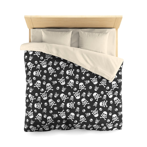 Skull Bones Duvet Cover, Skeleton Biker Black White Microfiber Full Queen Twin Unique Vibrant Bed Cover Modern Home Bedding Bedroom Decor