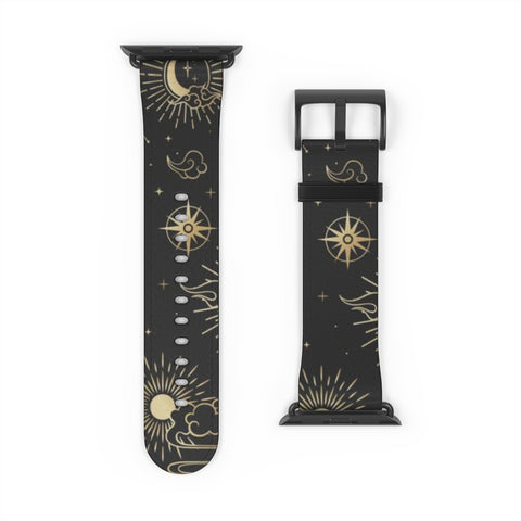 Moon Stars Apple Watch Band, Black Gold Stars Celestial  iWatch Vegan Faux Leather 38mm 40mm 42mm 44mm size Series 1 2 3 4 5 - Starcove Design
