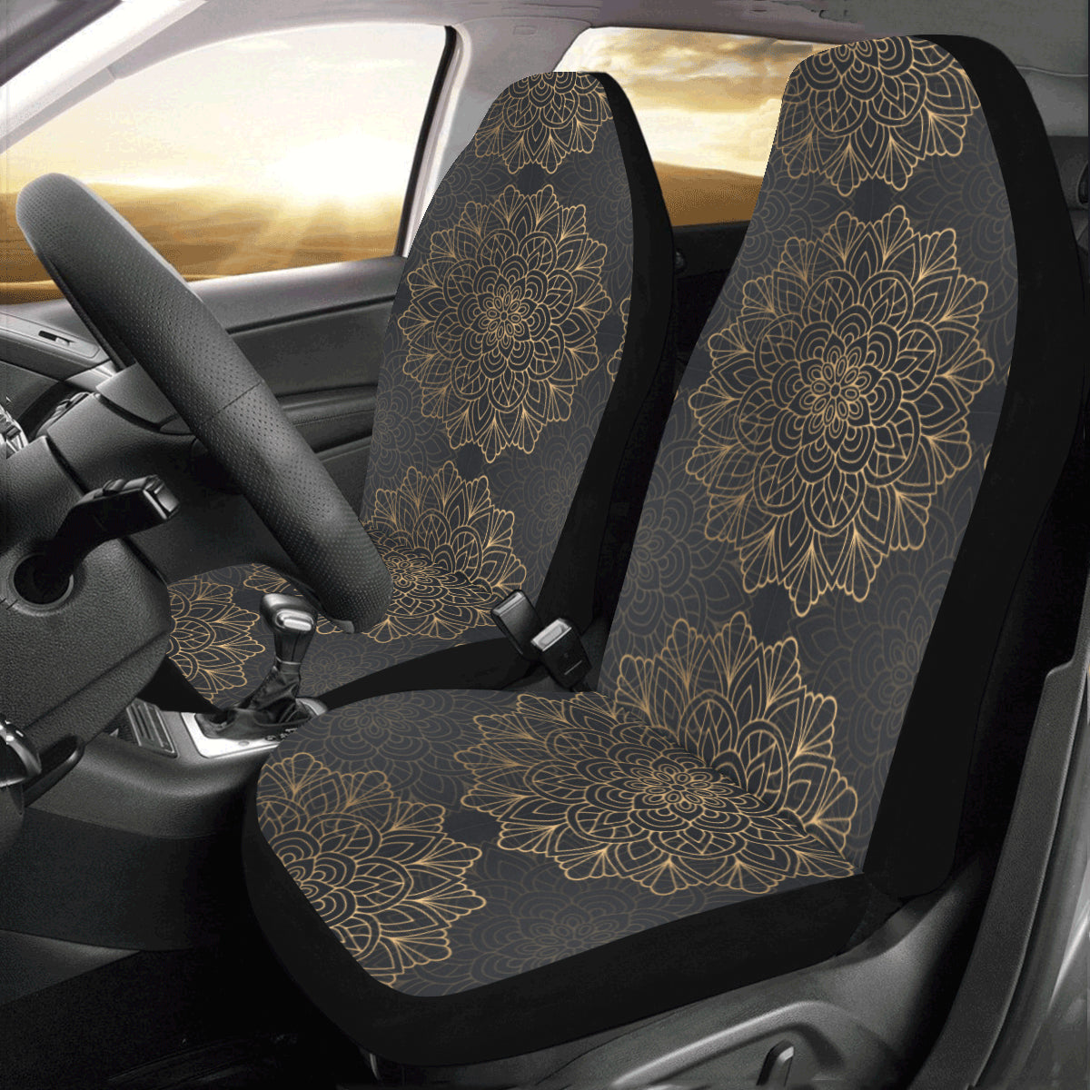 Black Mandala Boho Car Seat Covers 2 pc, Tribal Indian Pattern Bohemian Oriental Art Front Seat Covers, Car SUV Protector Accessory Decor - Starcove Design