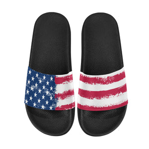 Patriotic Women Slide Sandals, America Flag Shoe, Red White Blue Stars Stripes USA Flag Wedge Slides, Mismatch Flip Flops Slip On Vegan Shoes - Starcove Design