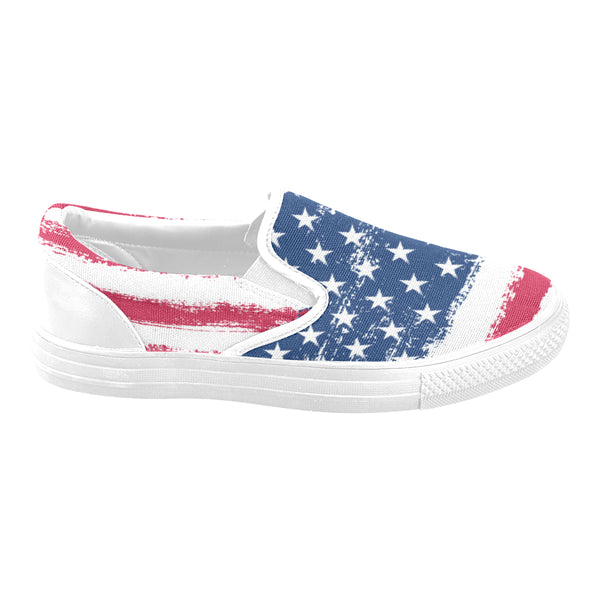 Matching Mismatched Shoes, American Flag, Stars and Stripes, Red Blue and white USA, Patriotic Slip on Women Canvas Shoes, Vegan shoes - Starcove Design