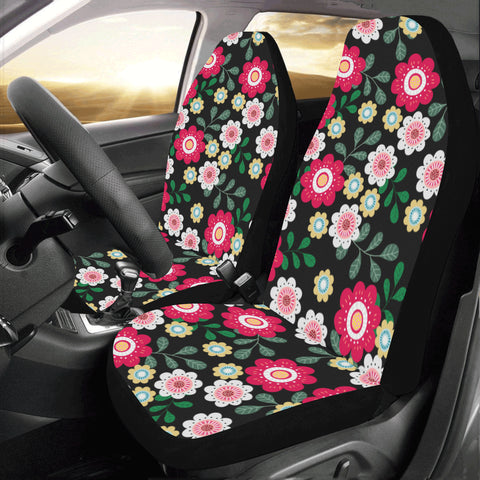 Pretty Flower Car Seat Covers for Vehicle 2 pc, Floral Red Cute Tropical Front Seat, Car SUV Vans Gift for Her Truck Protector Accessory - Starcove Design