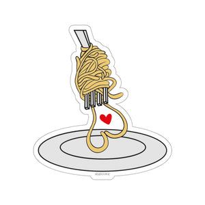 Spaghetti Sticker, I Love Pasta Food Heart Yellow Laptop Decal Vinyl Cute Waterbottle Tumbler Car Bumper Aesthetic Label Wall Mural - Starcove Design