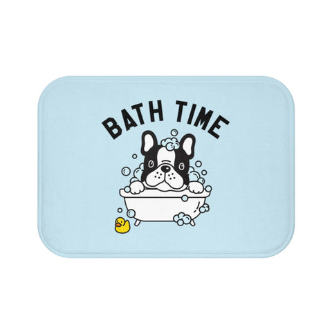Non Slip Bath Mat, Bath Time Dog Puppy Duck Washing Illustration, Memory Foam Blue Bath Mat Bathroom Floor Rug, Luxury Bath Rugs - Starcove Design