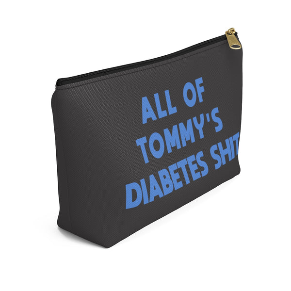 All Of Custom Text Name Diabetes Shit Bag, Personalized Diabetic Supply Case Gift, Type 1 diabetes, Accessory Zipper Pouch Bag w T-bottom - Starcove Design