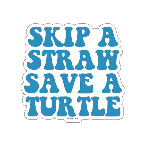 Skip A Straw Save A Turtle, Vsco Turtle Stickers Laptop Vinyl Waterproof Car Bumper Water bottle Wall Decal - Starcove Design