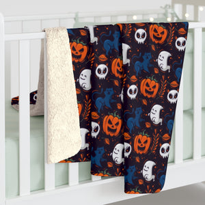 Halloween Sherpa Fleece Blanket, Black Orange Pumpkins Ghosts Spooky Throw Adult Kids Blanket Fall Decor Gift