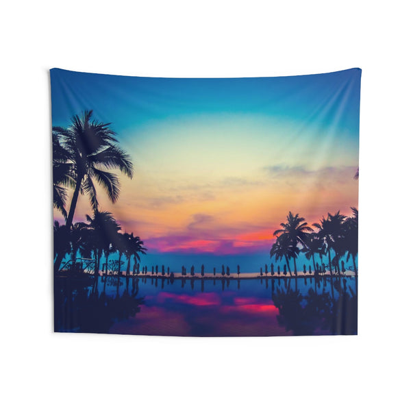 Tropical Palm Trees Pool Tapestry, Sunset Landscape Indoor Wall Art Hanging Tapestries Large Small Decor Home Dorm Room Gift - Starcove Design