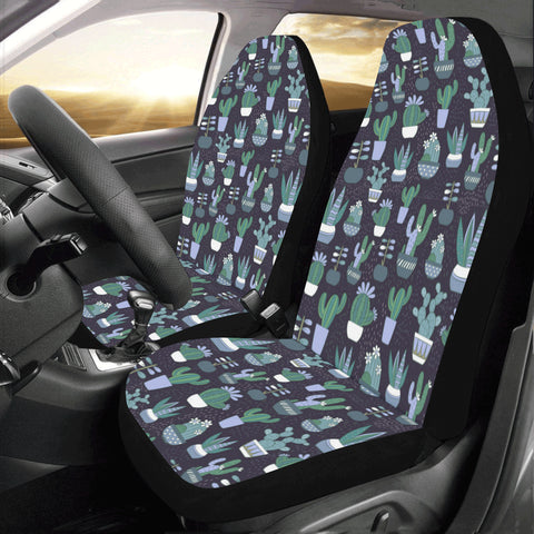 Cactus Flower Car Seat Covers 2 pc, Blue Green Mexican Floral Succulent Front Seat Covers, Car SUV Seat Protector Accessory - Starcove Design