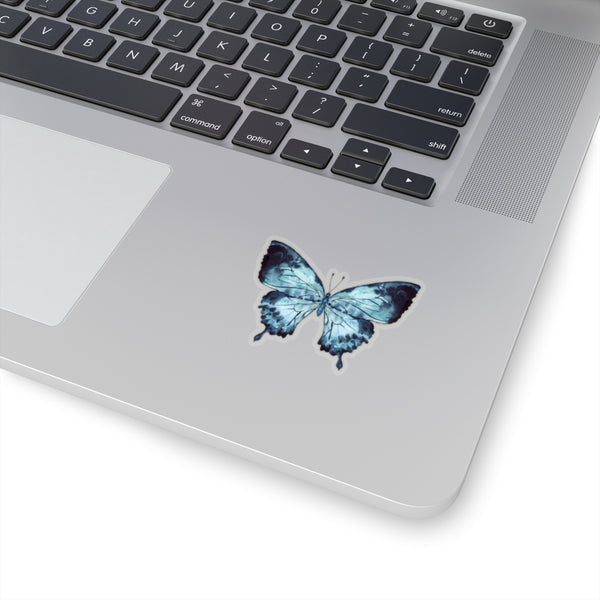 Blue Watercolor Butterfly Sticker, Art Die Cut Laptop Decal Vinyl Cute Waterbottle Tumbler Car Bumper Aesthetic Label Girl Wall Mural - Starcove Design