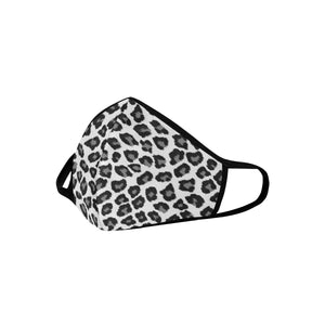 Snow Leopard Cotton Face Mask With Filter Pocket, Animal Print Fabric Dust Cloth Mouth Cover Fashion Washable Reusable Adult Men Women Kids - Starcove Design