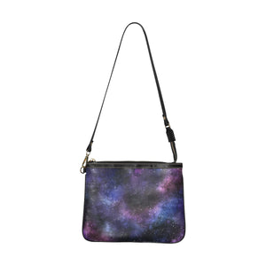 Galaxy Print Small Shoulder Bag, Space Stars Purple Women Leather with Unique Cross Evening Travel Handmade Messenger Crossbody Zipper Purse