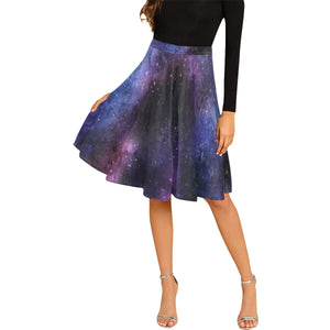 Galaxy skirt, Space Stars Purple Print Women's Pleated Midi High Waisted, Vintage Knee Length, Flowy Flare Out Sexy Skirt