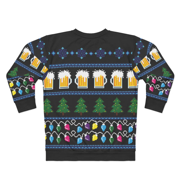 Beer Ugly Christmas Sweater, Party Funny Men Women Lights Stein glass Drinking Bar Tree Xmas Holiday Snowflakes Black Sweatshirt Top - Starcove Design
