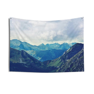 Mountain Tapestry, Nature Photo Peak Sky Landscape Horizontal Scenic Indoor Wall Tapestries - Starcove Design