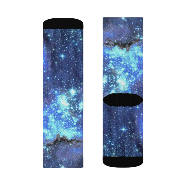 Galaxy Space Socks, Celestial Stars Blue 3D Sublimation Socks Festival Party Women Men Funny Fun Novelty Cool Funky Crazy Cute Unique Gift - Starcove Design