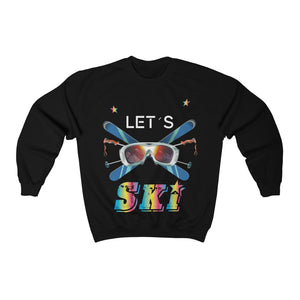 Let's Ski 80s Style Sweatshirt, Retro Skiing Vintage 90s Party Skier Mountain Snow Vacation Men Women Cotton Crewneck Sweater - Starcove Design
