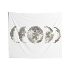 Moon Phases Tapestry, Full Halve Moon White Landscape Indoor Wall Art Hanging Tapestries Large Small Decor Home Dorm Room Gift