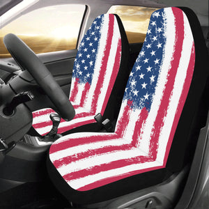 US America Flag Car Seat Covers 2 pc, Red White Blue Patriotic Front Seat Covers, Car SUV Seat Protector Accessory Decoration - Starcove Design