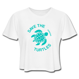 Save The Turtles Women's Cropped T-Shirt - white