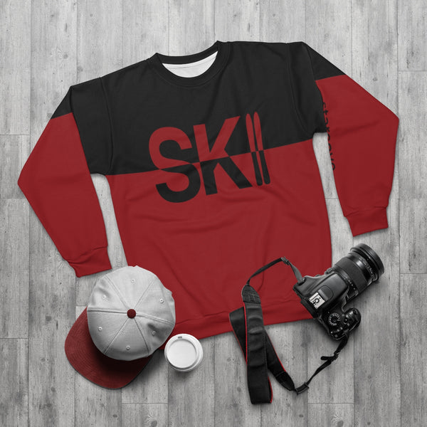Ski Sweater Men, Vintage Skiing Sweatshirt Colorblock Red Black Apres Ski Snow Winter Mountain Pullover Sport Vacation Gift - Starcove Design