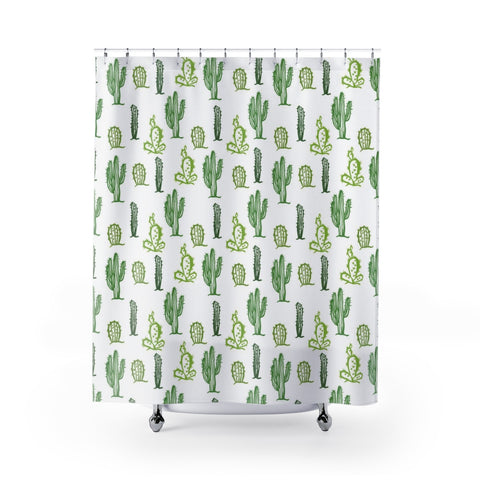 Cactus Shower Curtain, Cacti Succulent Plant Green Boho Desert Bath Bathroom White Shower Curtains Gift Decor - Starcove Design