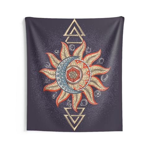 Sun Moon Tapestry, Purple Boho Hippie Astrology Yoga Meditation Mandala Indoor Wall Art Hanging Decor Home Dorm Room Gift - Starcove Design