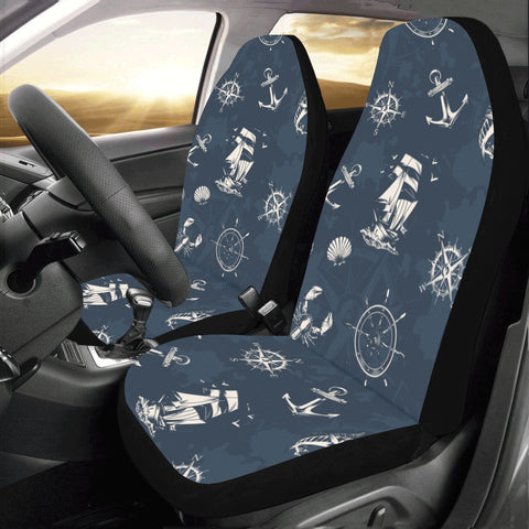 Nautical Navy Blue Car Seat Covers 2 pc, Vintage Sea Ocean Anchor Boat Octopus Pattern Front Seat Covers, Car SUV Seat Protector Accessory