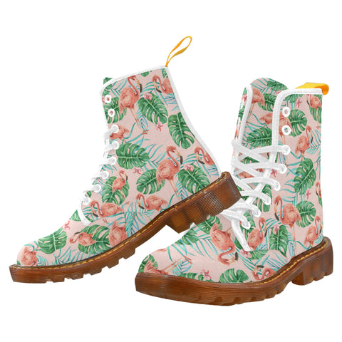 Pink Flamingo Women's Boots, Pastel Vintage Kawaii Party Festival Vegan Canvas Lace Up Shoes, Print Army Combat Winter Casual Custom Gift - Starcove Design