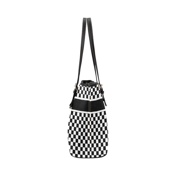 Black and White Tote Bag, Checkered Check Racing Print Handbag, Checkerboard Bag, High Grade Leather Starcove Designer Shoulder - Starcove Fashion